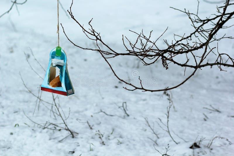 Alimentador de suspensão do pássaro feito à mão da caixa de papel dos doces por crianças após a lição da bondade na escola salvar fotografia de stock royalty free