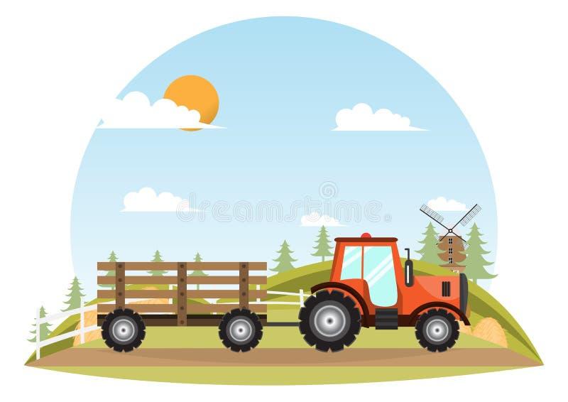 alimentador Entrega de la máquina del granjero dentro de la granja stock de ilustración