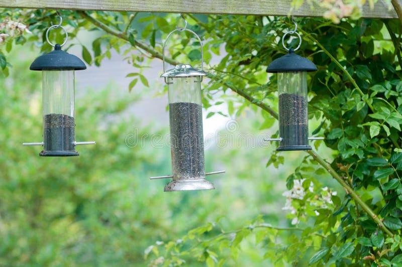 Alimentadores do pássaro fotos de stock royalty free
