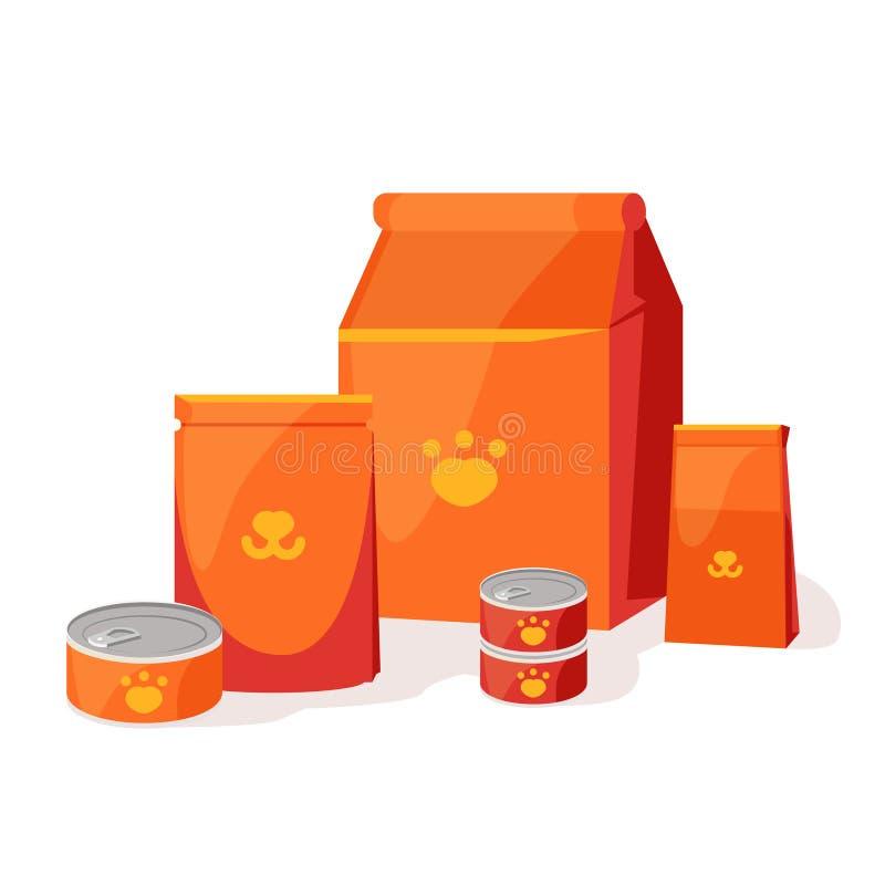 Alimentation de chats Nourriture pour animaux de compagnie et chiens Bowl, Packaging, Publicité boutique pour animaux de compagni illustration de vecteur