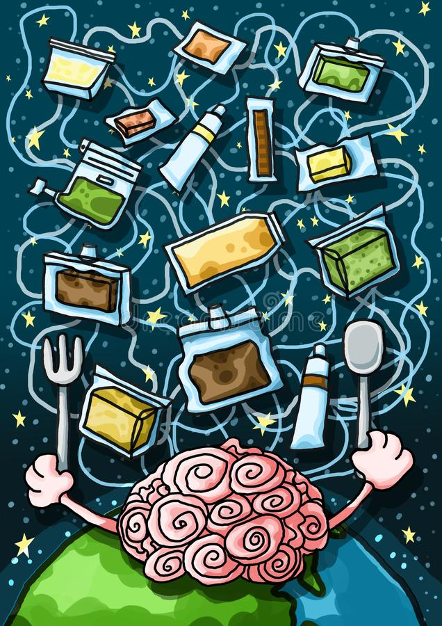 Alimentation spatiale d'intelligence artificielle illustration de vecteur