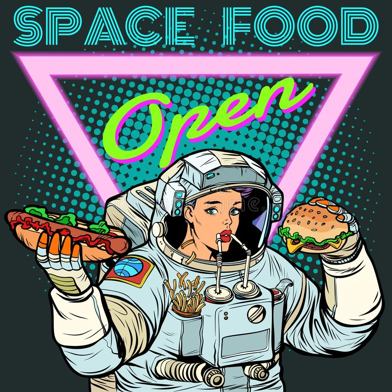 Alimentation spatiale L'astronaute de femme mange Kola, hot-dog et hamburger illustration stock