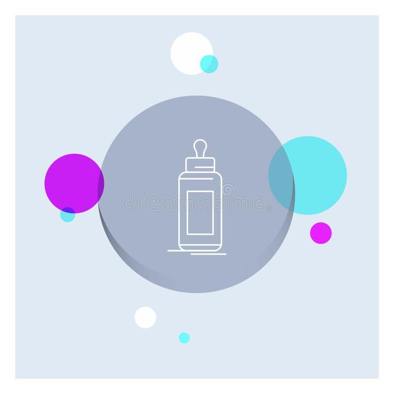 alimentatore, bottiglia, bambino, bambino, linea candida fondo variopinto del cerchio dell'icona royalty illustrazione gratis