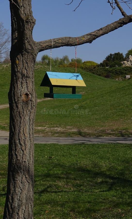 Alimentatore dell'uccello, dipinto in giallo-blu nel giardino botanico, Ukr immagini stock