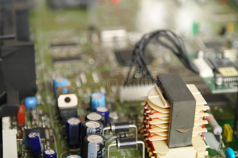 Alimentazione elettrica in un decodificatore satellite fotografia stock