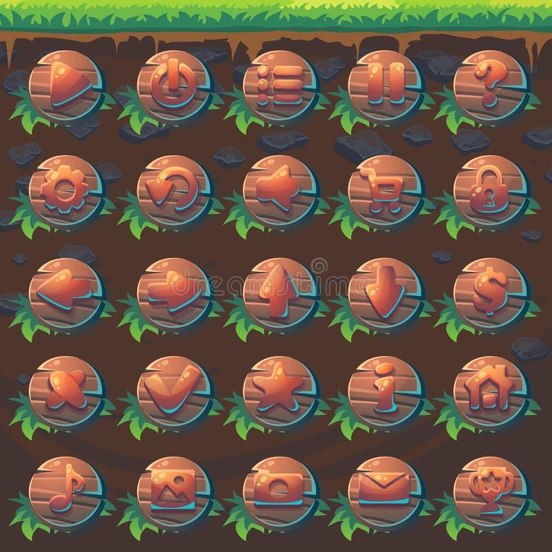 Alimentez au match de GUI de renard 3 boutons en bois réglés illustration de vecteur