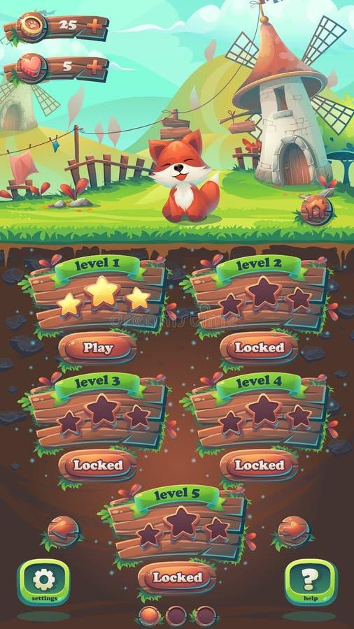 Alimentez la fenêtre de carte de niveau du match 3 de GUI de renard illustration de vecteur