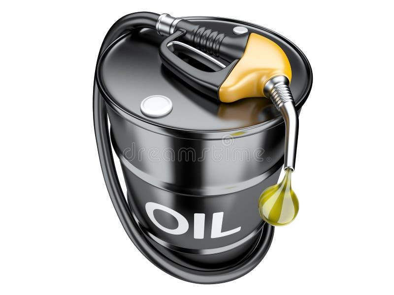 Alimentez le concept avec le bec de tonneau à huile et de pompe à gaz illustration de vecteur