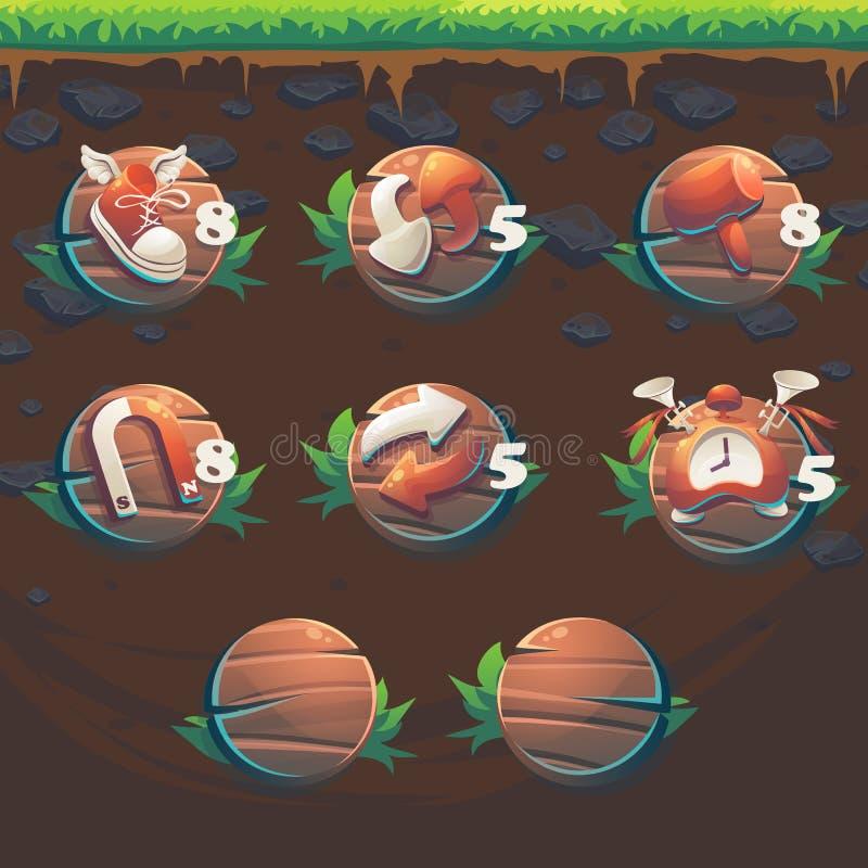 Alimenti alla partita del GUI della volpe 3 ripetitori dell'interfaccia utente del gioco illustrazione vettoriale