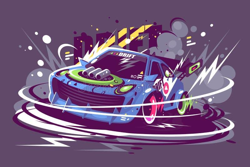 Alimenti la corsa dell'automobile sportiva che va alla deriva sulla pista di corsa illustrazione vettoriale