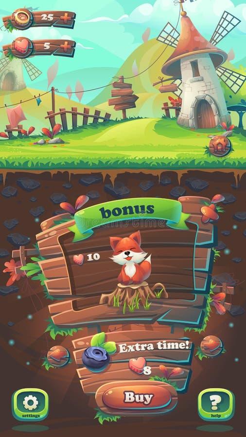 Alimenti la finestra dell'affare della partita 3 del GUI della volpe illustrazione vettoriale