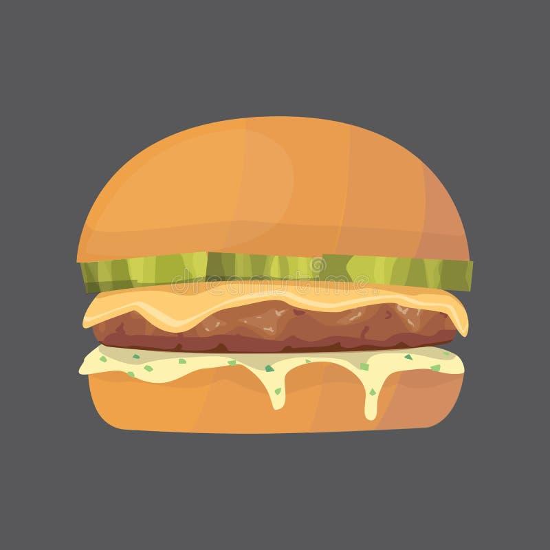 Alimenti a rapida preparazione del fumetto dell'hamburger illustrazione di vettore dell'hamburger o del cheeseburger grasso illustrazione vettoriale