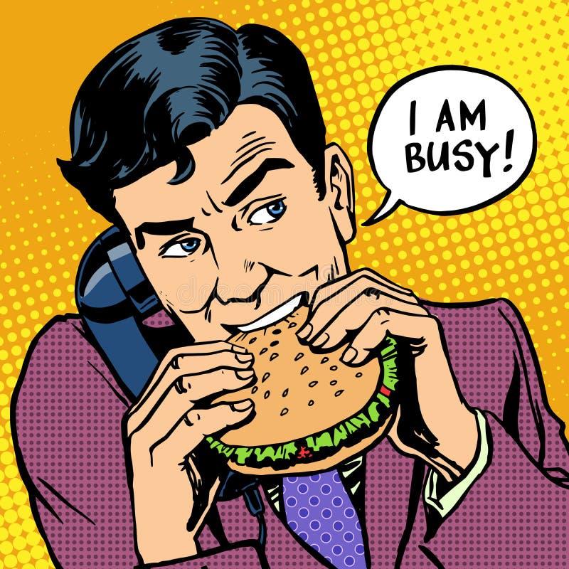 Alimenti a rapida preparazione del pranzo mangiatori di uomini un hamburger e parlare sopra illustrazione vettoriale