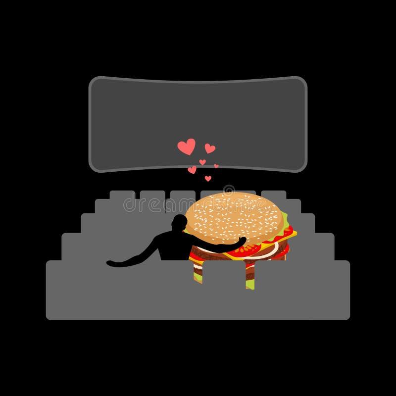 Alimenti a rapida preparazione dell'amante Uomo ed hamburger nel cinema Tipo ed ufficio royalty illustrazione gratis