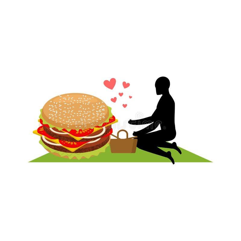 Alimenti a rapida preparazione dell'amante Uomo ed hamburger sul picnic Tipo ed hamburger Me royalty illustrazione gratis
