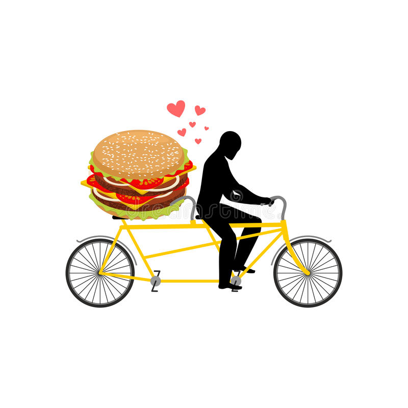 Alimenti a rapida preparazione dell'amante Uomo ed hamburger sul tandem Tipo ed hamburger Lo royalty illustrazione gratis