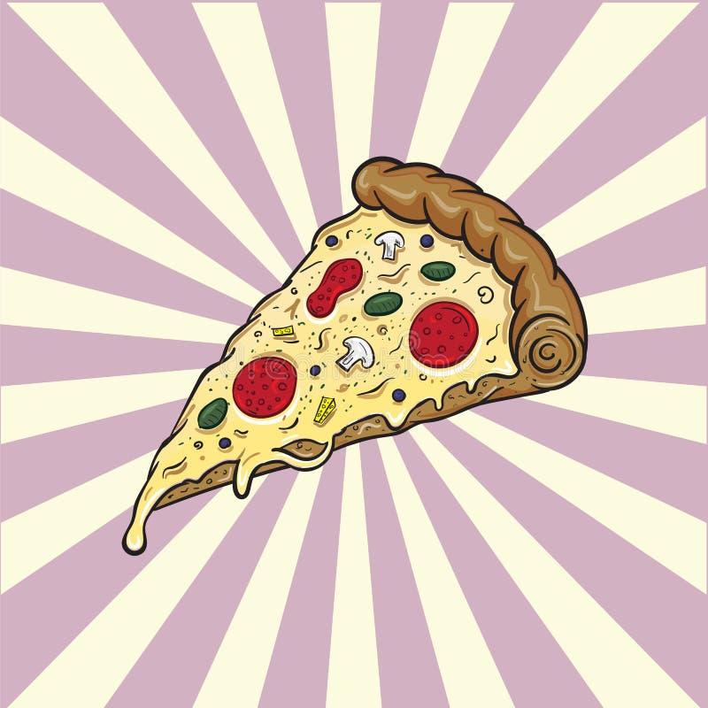 Alimenti a rapida preparazione dell'illustrazione italiana dell'alimento della pizza illustrazione di stock