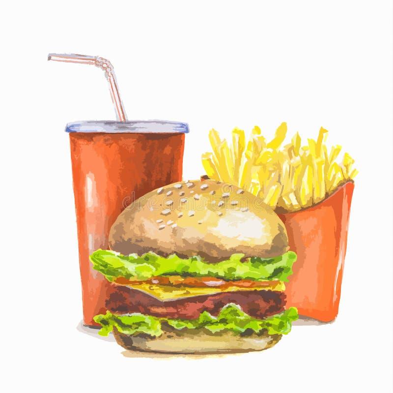 Alimenti a rapida preparazione dipinti illustrazione di stock