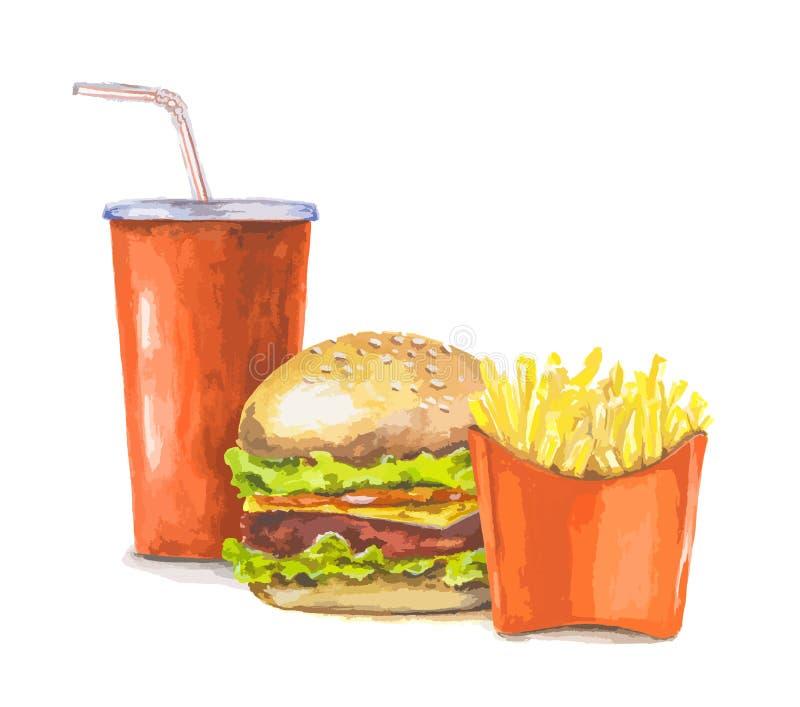 Alimenti a rapida preparazione dipinti illustrazione vettoriale