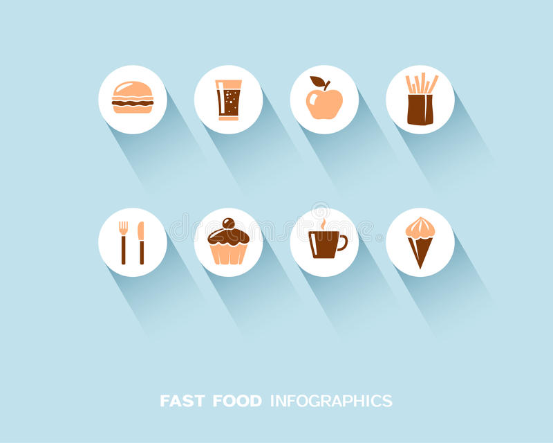 Alimenti a rapida preparazione infographic con le icone piane messe illustrazione vettoriale