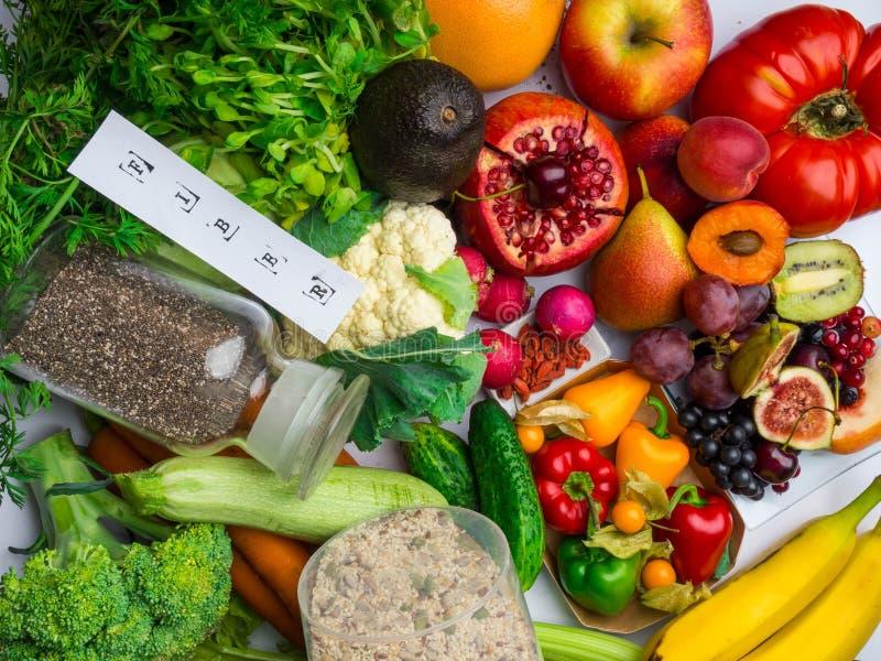Alimenti ricchi in fibra ed antiossidanti Concetto sano di cibo fotografia stock libera da diritti