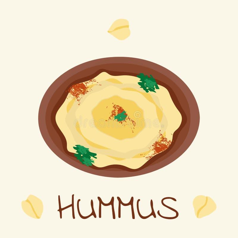 Alimento árabe de Hummus do grão-de-bico ilustração royalty free