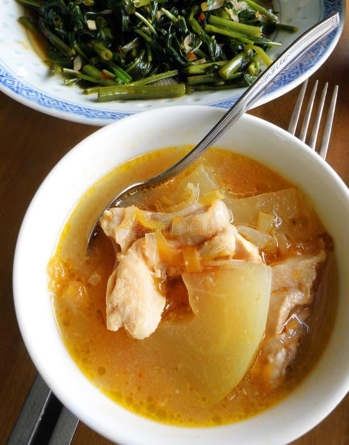 Alimento étnico, sopa da papaia & vegetais asiáticos foto de stock royalty free