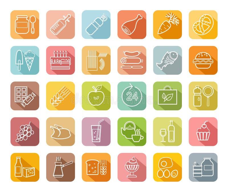 Alimento, ícones do contorno, coloridos, mercearia, vetor ilustração stock