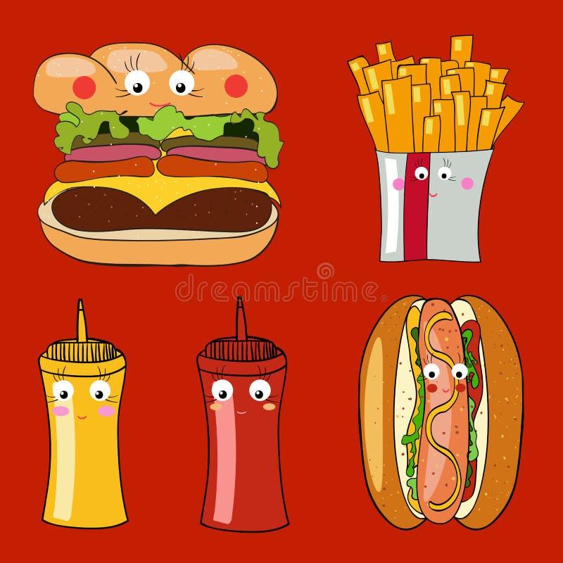 Alimento afastado colorido dos desenhos animados, um cheeseburger, cachorro quente, francês ilustração do vetor