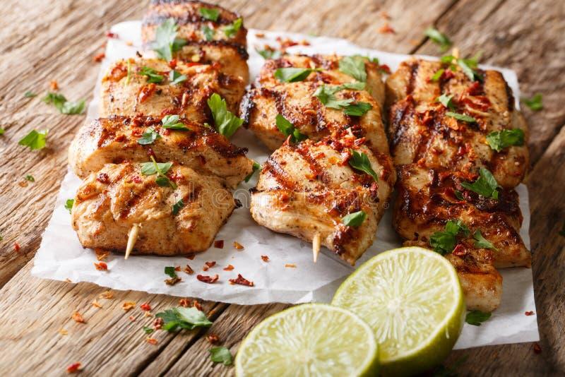 Alimento afgano: Pollo Kabab marinato in un clo della salsa del cumino del yogurt fotografia stock