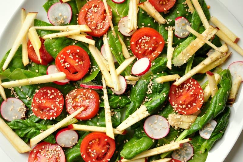 Vegan, alimento saudável: salada do espinafre, da maçã e do sésamo fotos de stock royalty free