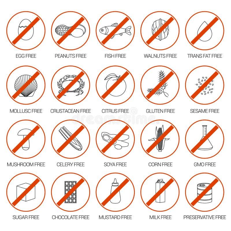 Alimento allergico, vettore OMG di simboli illustrazione di stock
