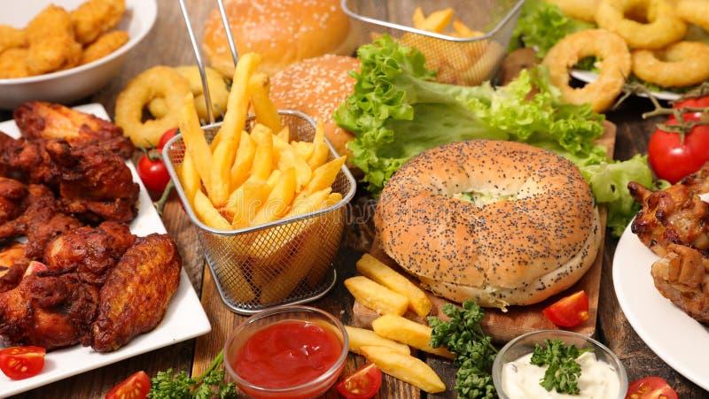 Alimento americano sortido fotografia de stock royalty free