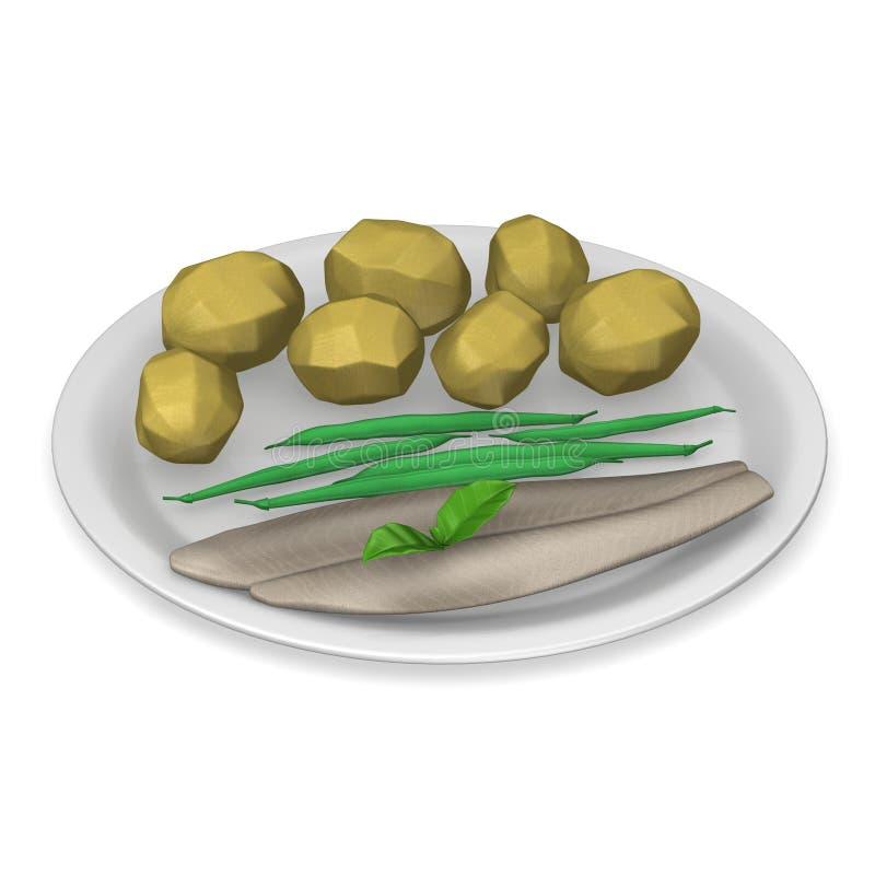Alimento artificial - batatas com peixes ilustração stock