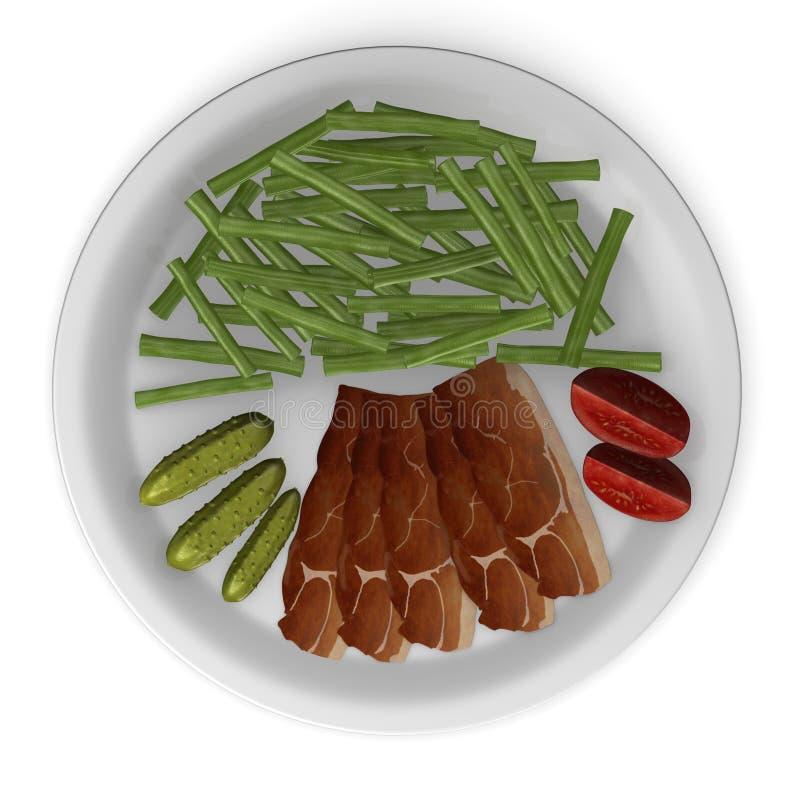 Alimento artificial - feijões e presunto ilustração do vetor