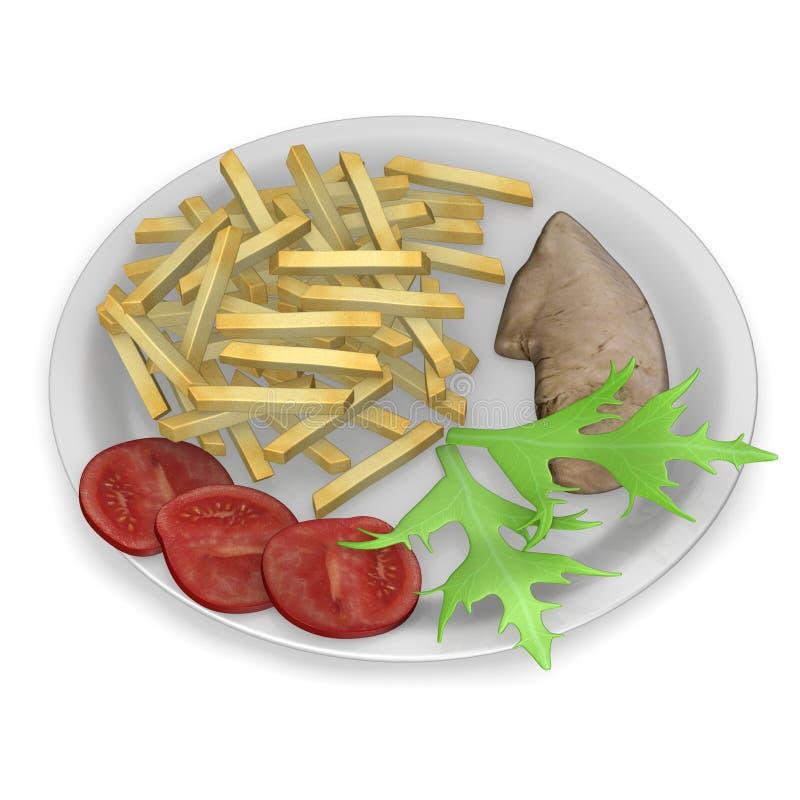 Alimento artificial - galinha com fritadas e vegetal ilustração do vetor