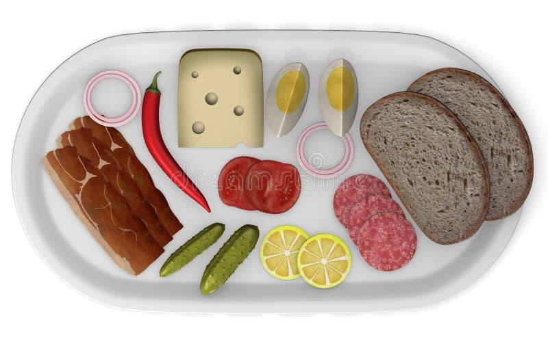 Alimento artificial na placa ilustração royalty free
