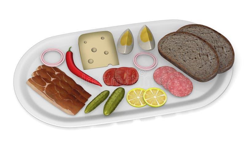 Alimento artificial - pão, carne, queijo, vegetal ilustração do vetor