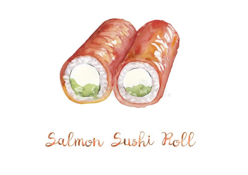 Alimento asiático Ejemplo de la acuarela del rollo de sushi de color salmón libre illustration