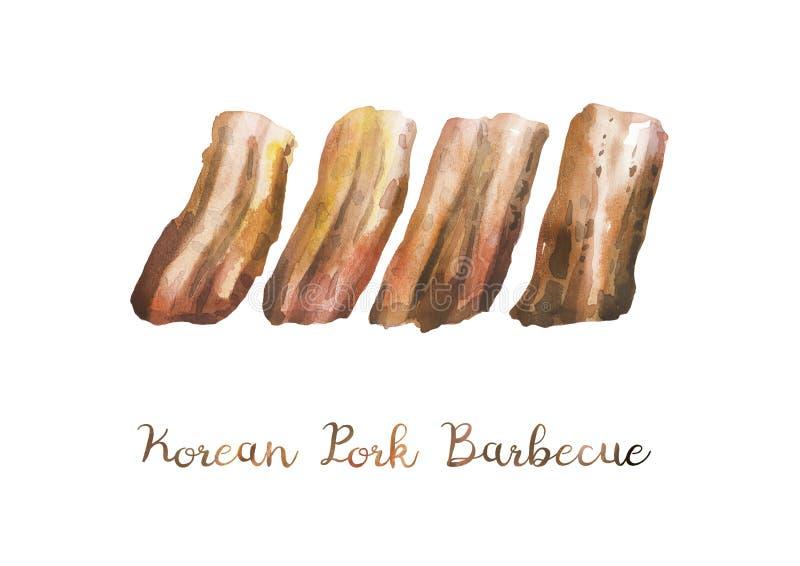 Alimento asiático Ilustrações da aquarela do assado coreano de Samgyupsal da carne de porco ilustração royalty free