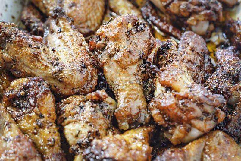 Alimento, assado, BBQ, asas de galinha, Spicey, búfalo, galinha, petisco, vista superior imagem de stock