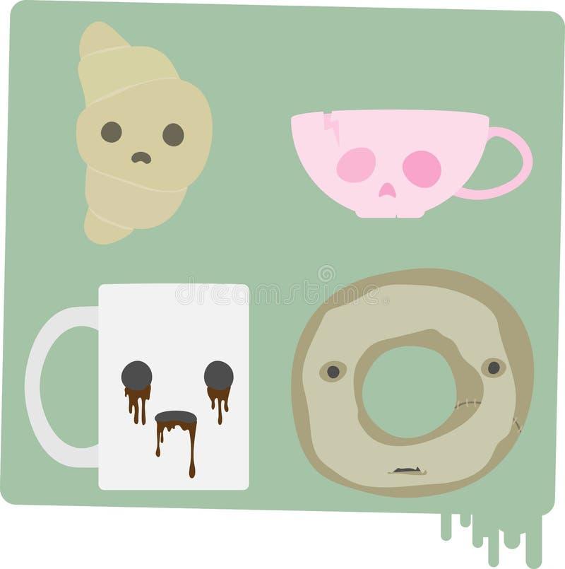 Alimento assombrado assustador assustador do almoço ilustração do vetor
