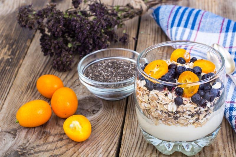 A alimento-aveia dietética e da aptidão lasca-se com mirtilos e leite imagem de stock