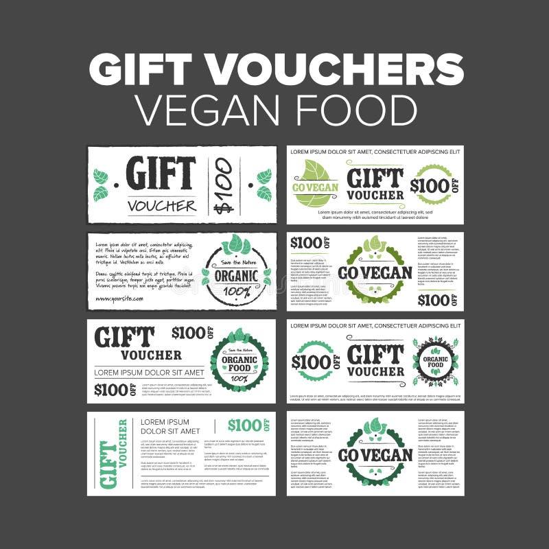 Alimento biológico de los vales de regalo stock de ilustración