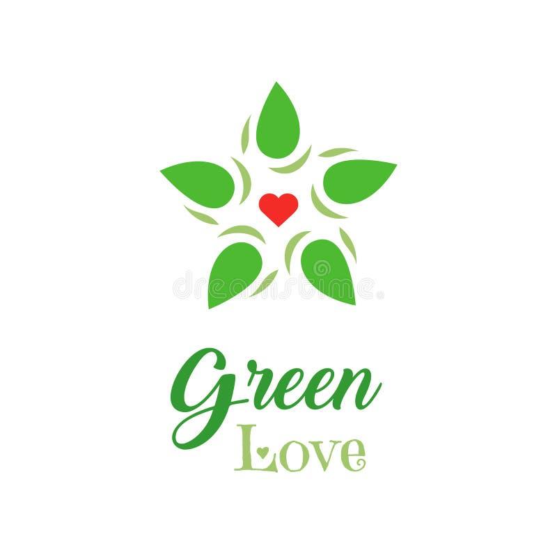 Alimento biológico del logotipo Lema verde del amor en el fondo blanco Icono de las letras de la mano Productos amistosos de Eco  ilustración del vector