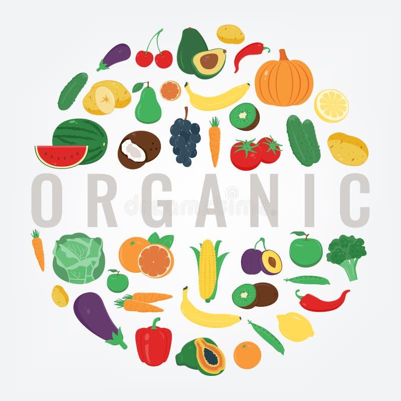 Alimento biológico Frutas e verdura Conceito saudável comer Vetor ilustração stock
