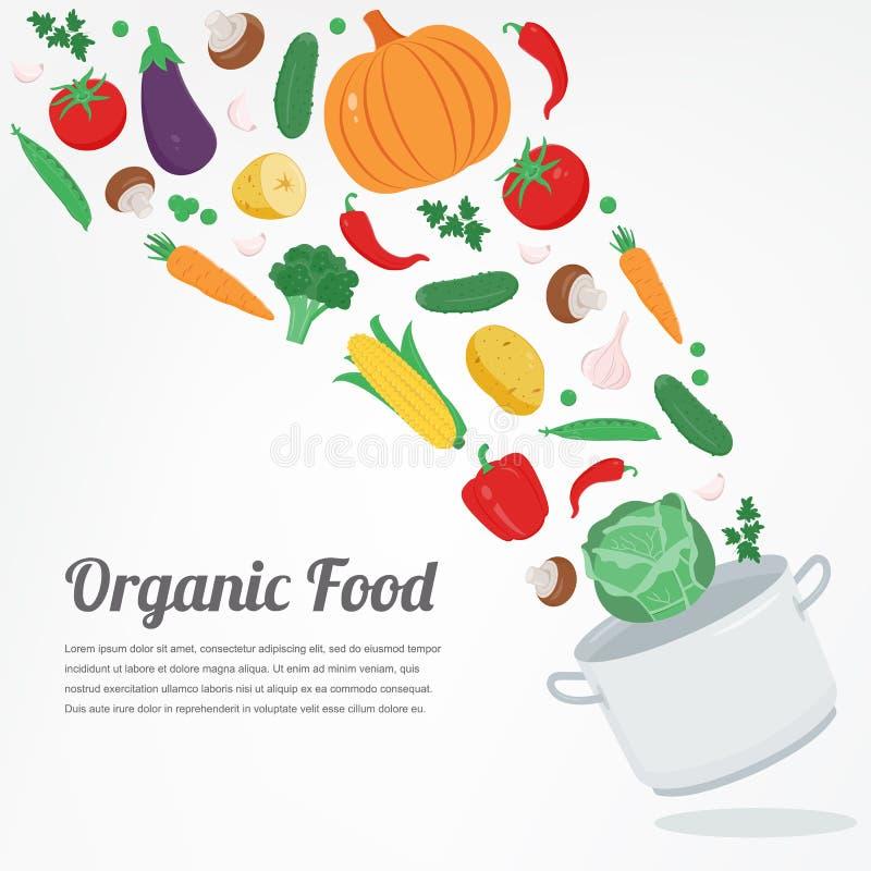 Alimento biológico Iconos vegetales de la comida Concepto sano de la consumición Vector stock de ilustración