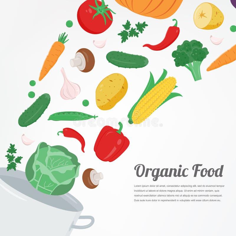 Alimento biológico Iconos vegetales de la comida Concepto sano de la consumición Vector ilustración del vector