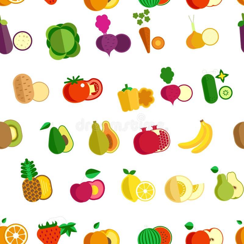 Alimento biológico inconsútil de la granja del modelo de la fruta y verdura ilustración del vector