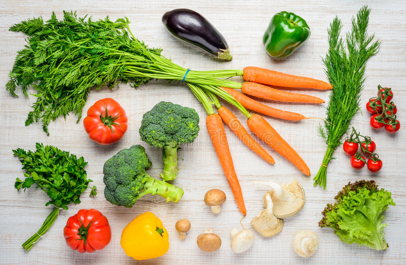 Alimento biológico y verduras sanos fotografía de archivo